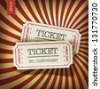 Cinema tickets on retro rays background. Raster version, vector file available in portfolio. - stock photo