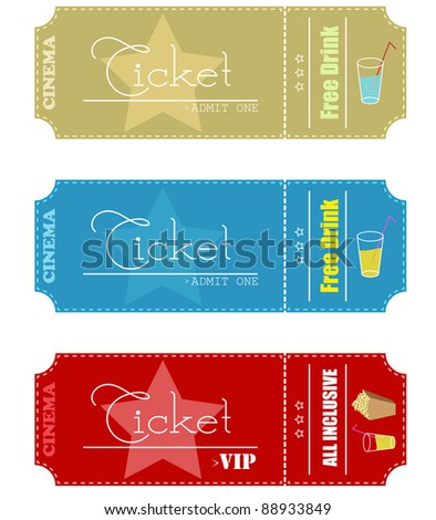 Cinema tickets.Vector version available in my gallery. - stock photo