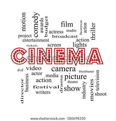 Cinema Word Cloud Concept in neon lights with great terms such as camera, movie, show, video and more.
