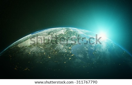 Cinematic and very realistic sunrise seen from space Elements of this image furnished by NASA
