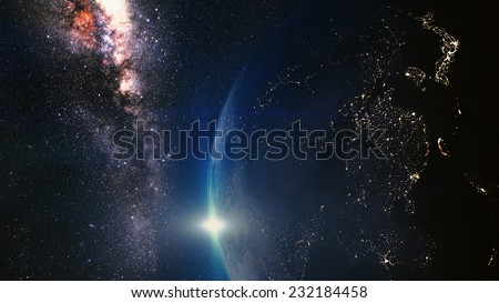 Cinematic and very realistic sunset seen from space Elements of this image furnished by NASA - stock photo