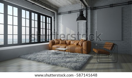 Cinematic Modern Living Room With White Wall ,brown Leather Couch, Fur  Carpet And Loft Part 81