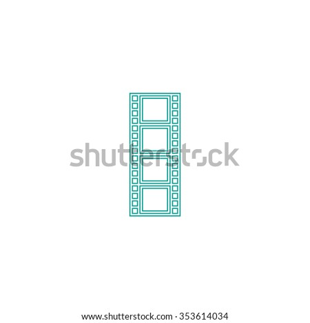 Cinematographic film. Outline symbol on white background. Simple line icon - stock photo