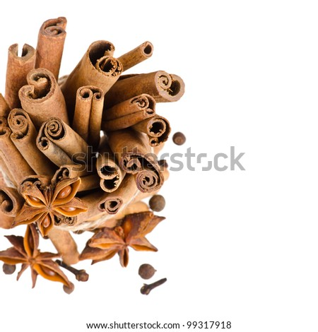 Cinnamon and anise on isolated white background