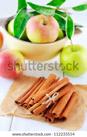cinnamon and apples - stock photo