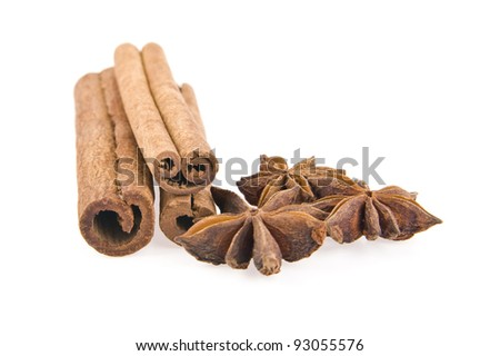 cinnamon and nutmeg isolated on white