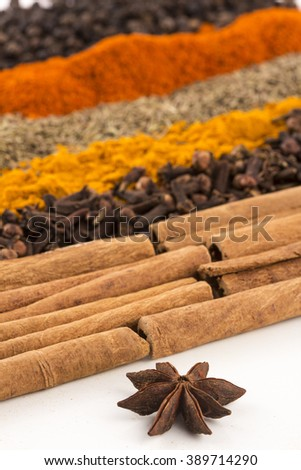 Cinnamon and other spices on white background - stock photo