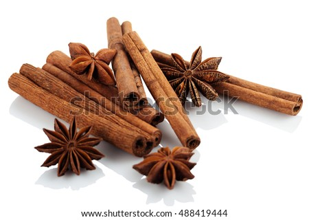 Cinnamon and star anise on a white background. Isolated