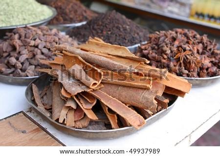 Cinnamon at the asian market - stock photo