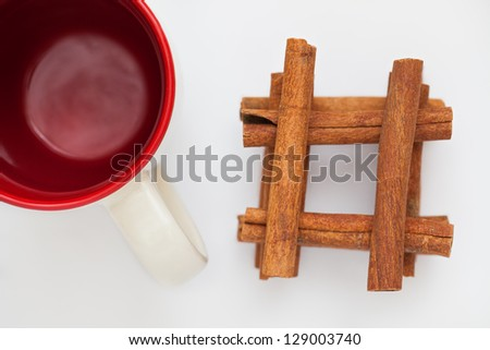 Cinnamon bark on a white background, cinnamon sticks
