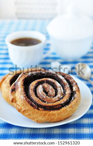 Cinnamon buns and coffee - stock photo