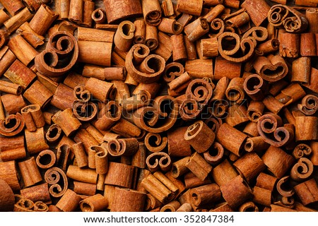 Cinnamon crust curls whorl background - stock photo