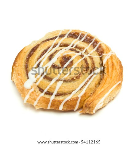 Cinnamon Danish Pastry swirl isolated against white background
