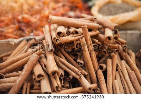Cinnamon in indian spice market in Kerala, Alleppey - stock photo