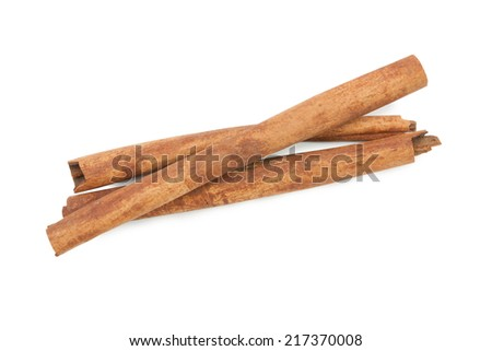 cinnamon ingredients close up isolated on white background,  file includes a excellent clipping path - stock photo