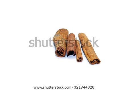 Cinnamon isolation on a white background. Spices macro.