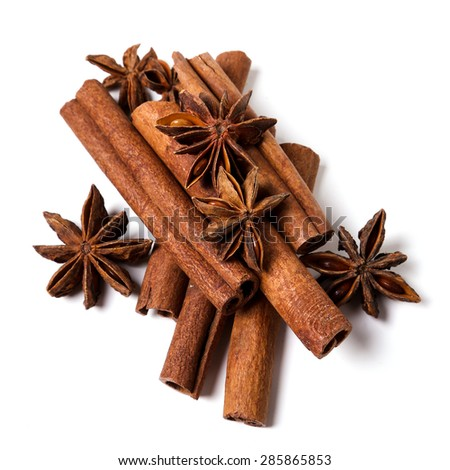 Cinnamon on a white background