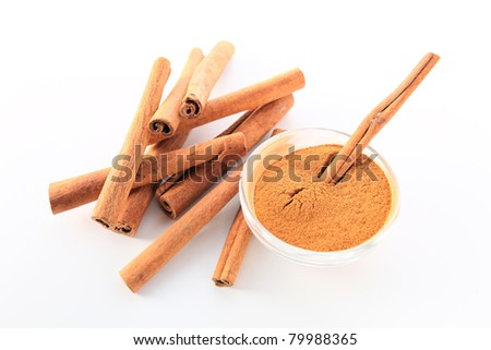 cinnamon on a white background.