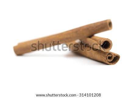 Cinnamon on the white background