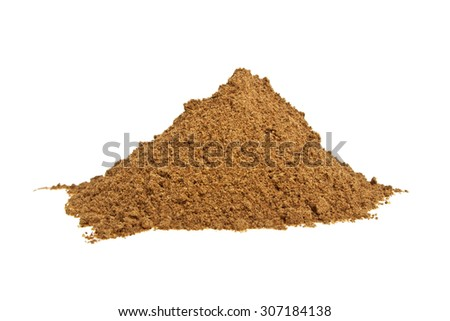 Cinnamon powder on a white background - stock photo