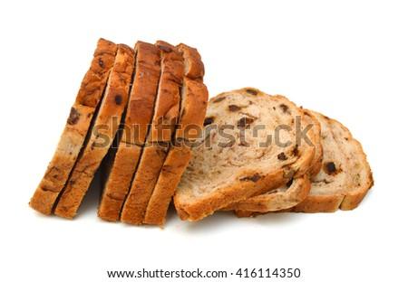 Cinnamon Raisin Bread on a white background - stock photo