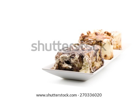cinnamon rolls with luxury topping on white background - stock photo