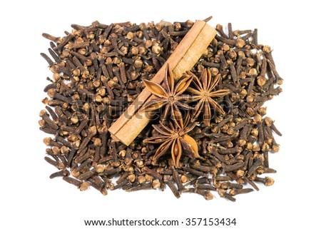 cinnamon, star anise, cloves - stock photo