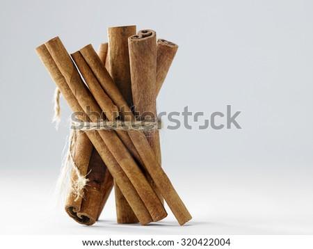 cinnamon stick on the white background - stock photo