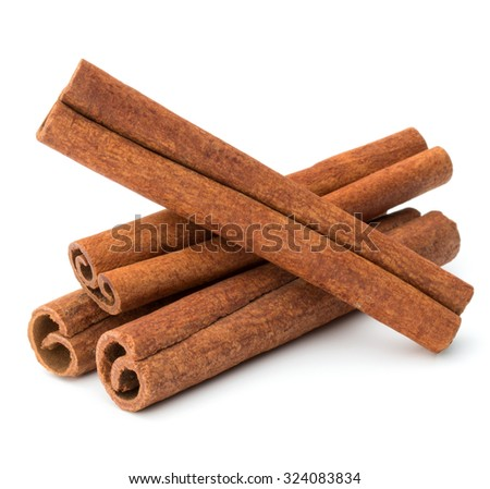 cinnamon stick spice isolated on white background closeup - stock photo