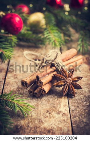 Cinnamon sticks and anise stars for mulled wine, toned - stock photo