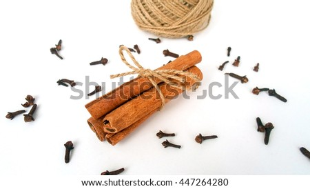 cinnamon sticks and cloves on white background. Selective focus.