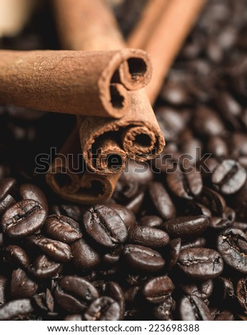 Cinnamon sticks and coffee beans. Selective focus - stock photo
