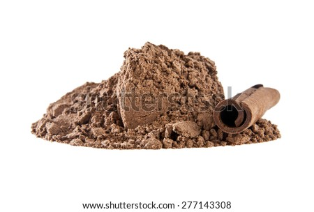 Cinnamon sticks and powder isolated on white background - stock photo