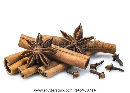 Cinnamon sticks and star anise isolated over a white background - stock photo