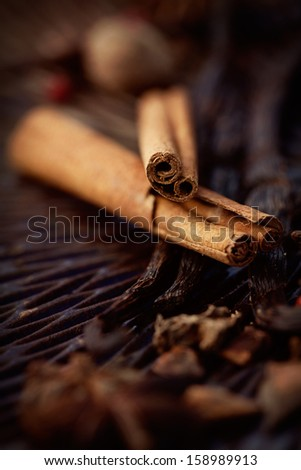 Cinnamon sticks. Ingredients for baking