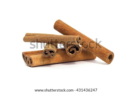 cinnamon sticks on white background isolated