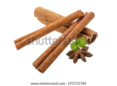Cinnamon with mint leaf and star-anise isolated