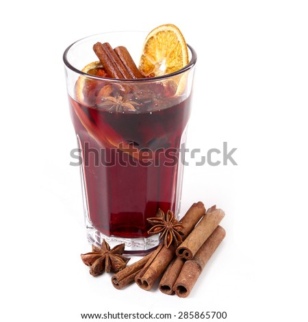 Cinnamon with orange and mulled wine - stock photo