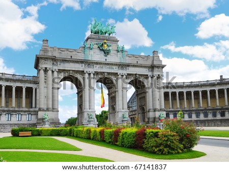Cinquantennaire Park in Brussels with The Triumphal Arch