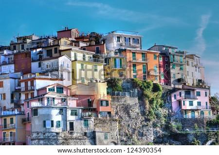 Cinque Terre, Italy - Manarola colorful fishermen village (hdr image) - stock photo
