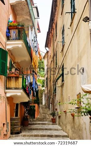 Cinque Terre, Italy - Narrow path in Riomaggiore - stock photo