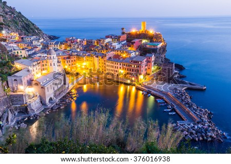 Cinque Terre, Liguria, Italy. Coastline and scenic panorama - stock photo
