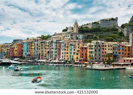 Cinque Terre region Italy.  Portovenere traditional city with colorfull cute houses on the mountains