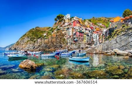 Cinque Terre. Riomaggiore village in a small valley in the Liguria region of Italy. - stock photo
