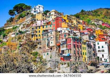 Cinque Terre. Riomaggiore village in a small valley in the Liguria region of Italy. Mediterranean Sea touristic attraction. - stock photo