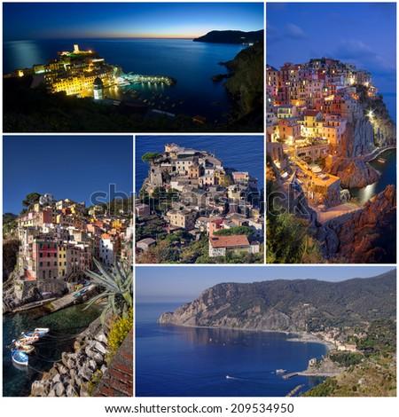 Cinque Terre villages of Italy coast collage - stock photo