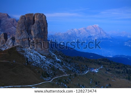 Cinque Torri at sunset, with Cortina d'Ampezzo valley in the background, Dolomite Alps, Italy - stock photo