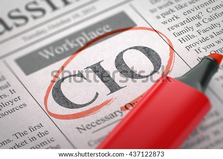 CIO - Small Ads of Job Search in Newspaper, Circled with a Red Marker. Blurred Image with Selective focus. Job Seeking Concept. 3D.