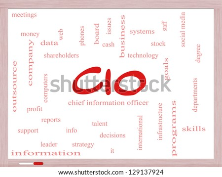 CIO Word Cloud Concept on a Dry Erase Board with great terms such as information, officer, data, reports and more. - stock photo