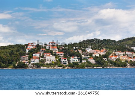 Ciovo island, Trogir area, Croatia view from the sea. Horizontal view - stock photo